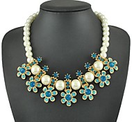 Fashion Zircon Seven Flower Pearl Necklace(Assorted Color)