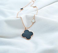 Fashion Women's Titanium Steel Four Leaf Clover Sweater Chain Necklace