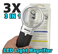 Multifunction Folding 60mm 3X Magnifier with 2 LED Lights (2 x AA)
