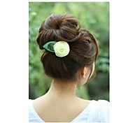 Fashion Rose with Green Leaf Hair Ties Hair Circle Random Delivery