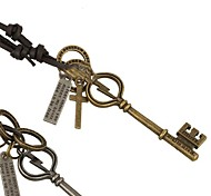 Men's European Style Fashion New Leather Vintage Key Necklace
