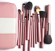 Professional Makeup Brushes Kit 12Pieces Goat Hair Make up Brushes in Pink Leather Bag