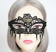 Handmade Rivet Half Face Black Lace Halloween Mask