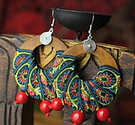 Ethnic Rad Multicolor Fabric Wood Drop Earrings(1Pair)
