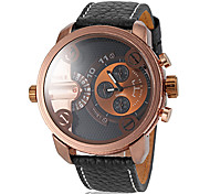 Men's Military Style Dual Time Zones Leather Band Quartz Wrist Watch