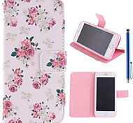 Beautiful Rose Pattern PU Leather Full Body Case with Stand and Capacitance Pen for iPhone 6