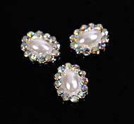 10pcs Vintage Design Oval Pearl Beads with AB Rhinestones 3D Alloy Nail Art Decoration