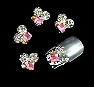 10pcs   Pink Square Crystal Round 3D Rhinestone DIY Alloy Accessories Nail Art Decoration