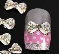 10pcs blanc passage strass accessoires alliage noeud papillon à ongles nail art décoration