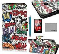 COCO FUN® Boom Graffiti Pattern PU Leather Full Body Case with Screen Protector, Stylus and Stand for Nokia Lumia N520