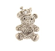 ZP 64GB Silver Bear Toy Pattern Bling Diamond Metal Style USB Flash Drive