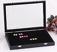Classic Big Size Beautiful Ring Cover Stand Black Paper Acrylic Flannelette Jewelry Boxes(1 Pc)