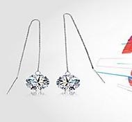 Earring Heart Drop Earrings Jewelry Women Wedding / Party / Daily Sterling Silver / Crystal Silver / White