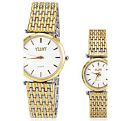 Couple's Casual Dial Steel Band Quartz Wrist Watch (Assorted Colors)