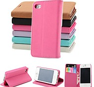 Pashm PU Leather Full Body Case with Stand and Card Slot for iPhone 4/4S (Assorted Colors)