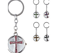 Women's Fashionable Cross-Shaped Metal Pendant With Artificial Diamond Bag Keychain Watch (1Pc)