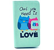 Owl You Need Love Pattern Full Body Case with Card Slot for HuaWei Y300