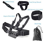 6 in 1 Gopro Accessories Chest Belt + WiFi Remote Wrist Belt + Head Strap + Helmet Strap + Bag
