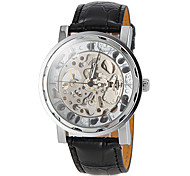 Men's Auto-Mechanical Delicate Hollow Engraving Dial Black Leather Band Wrist Watch