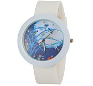 Women's Fashion Colorful Flower Round Dial White Silicone Band Wrist Watch Cool Watches Unique Watches