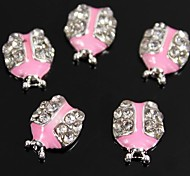 10pcs Cute Ladybug Shape Pink Drip Oil 3D Rhinestone Alloy Nail Art Decoration