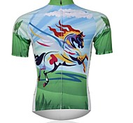 XINTOWN Men 's Horse Breathable Polyester Short Sleeve Cycling Jersey—Green
