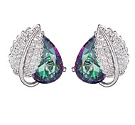 Fashion 925 Sterling Silver Rainbow Cubic Zirconia Earrings 1 Pair