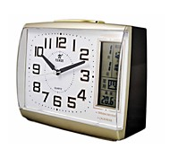 "POWER™ 4.7""H Style Square Shape LCD Night-light Perpetual Calendar Thermometer Snooze  Super Mute Golden Alarm Clock"