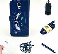 gato negro estuche de cuero pu + Protector de pantalla + cable + auricular + cargador de coche y stylus para i9500 samsung galaxy s4