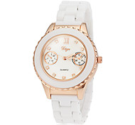 Women's Fashion Design White Ceramic Band Quartz Wrist Watch