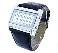 Men's Orange LED Rolling Display Black PU Band Wrist Watch