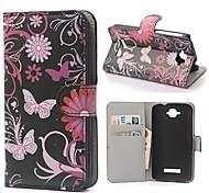 farfalle nero modello pu custodia in pelle con chiusura magnetica e slot per schede per Alcatel One Touch pop c7