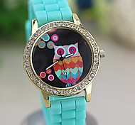 Women's Colorful Retro Owl Diamond Numbers Silicone Band Quartz Wrist Watch(Assorted Colors)
