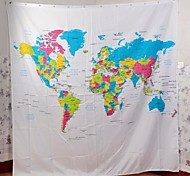 "Vina ""The Map of the World"" Creative European Style Dacron Bath Shower Curtain - White + Blue"
