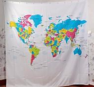 "Вина ""карта мира"" творческий занавес европейский стиль лавсан ванна душ - белый + синий"