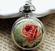 Women's Small Fashion Roses Quartz Movement Necklace Watch