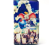 Flying Elephant Ship Pattern PU Leather Cover Full Body Case with Card Slot for Nokia Lumia N520