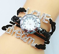 Women's New Style Crystal Love Dream Letter Leather Weave Band Quartz Analog Bracelet  Watch(Assorted Colors)