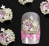 10pcs  Fashion Alloy Pink Crystal Rhinestones Crown  Nail Art Decoration