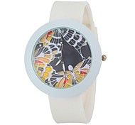 Women's Fashion Colorful Round Dial White Silicone Band Wrist Watch