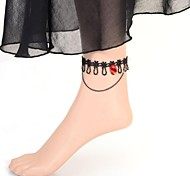 Lady Simple Red Gem Lace Anklet