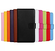 Solid Color Pattern Genuine Leatherr Full Body Case with Stand And Card Slot for Huawei Y530