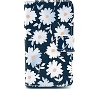 Black Background White Flowers Pattern PU Leather Full Body Case with Stand for Nokia N520