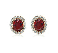 18K Rose Gold Plated Two Kind Colour /Red Green Austria Crystal Oval Shape Stud Earrings