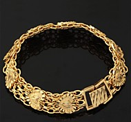 U7® Women's Vintage Hearts 18K Chunky Yellow Gold Plated Bracelet Chain Bangle for Women or Men 19.5CM