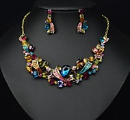 Luxury Elegance Noble Gem Color Crystal Stone(Includes Necklace&Earrings) Jewelry Set(1 pc)