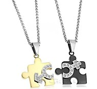 Creative Love Symbol Set Auger Puzzle Titanium Steel Couple Necklace