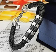 Men's Fashion Personality Titanium Steel Leather Woven Bracelets