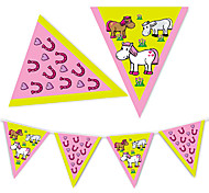 Lovely Pink Horse Flag Banner Party Accessory