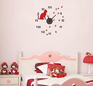 zooyoo® elektronischen Batteriezeitnehmer diy Runde Wanduhr mit roten Katze schwarze Zeiger Wandaufkleberausgangsdekor für Zimmer
